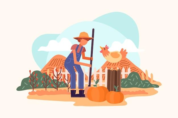 남자 유기 농업 개념 그림