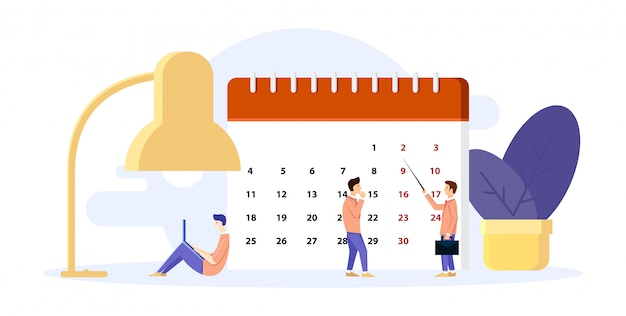 男は彼の日を整理します。カレンダーに計画を立てます。