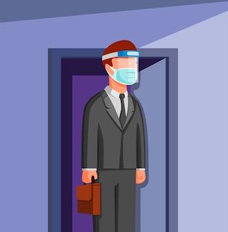 男の外のドアに行く作業服顔シールドとマスク、漫画イラストの新しい通常の活動で働く人々オフィスワーカー