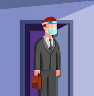 Man outside door go to work wear face shield and mask, people office worker working in new normal activities in cartoon illustration