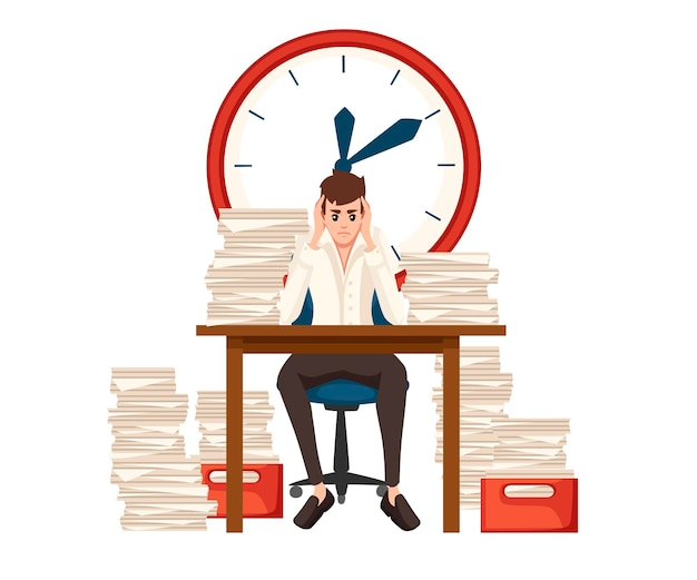 男はオフィスで過労。漫画のキャラクターデザイン。残業、疲れたサラリーマン。仕事のストレス。紙のスタックとテーブル。