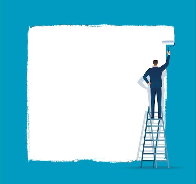 男は白い壁紙を描いた。テキストと青い背景のためのスペース