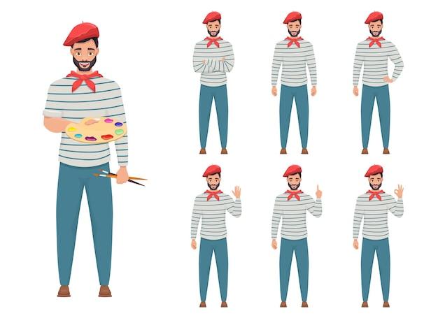 Человек художник дизайн иллюстрация, изолированные на белом фоне