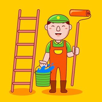 Man painter profession in flat cartoon style