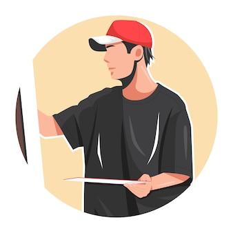 Man painting flat vector illustration