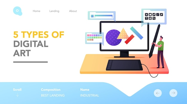Man painting geometric shapes landing page template. tiny male character graphic designer at huge tablet pc with pen create digital art. creative studio working process. cartoon vector illustration