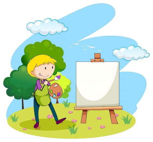 Человек рисует картину на холсте