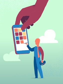 Man painting on smartphone screen