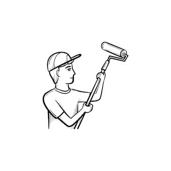 롤러 손으로 그린 개요 낙서 아이콘으로 그림을 그리는 남자. 흰색 배경에 격리된 인쇄, 웹, 모바일 및 인포그래픽을 위한 페인트 롤러 벡터 스케치 삽화로 벽을 리모델링하는 작업자.