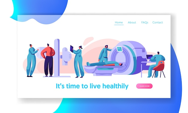 Man patient check xray mri health landing page. medical radiology screen machine x ray radiation chest checkup. bone scanner radiographer equipment website or web page flat cartoon vector illustration