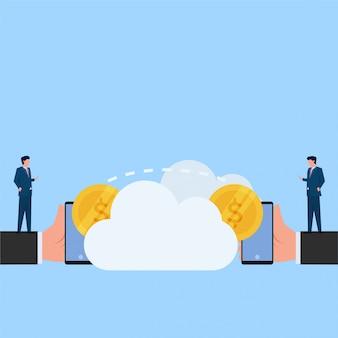 Человек платит другим с телефона через облачную метафору онлайн-платежей. бизнес плоской концепции иллюстрации.