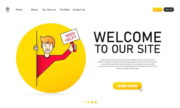 남자는 밖을 내다보고 도움이 필요하다는 표시를 들고 있습니다. 지원 서비스. 웹사이트. 저희 사이트에 오신 것을 환영합니다. 벡터, 그림입니다.