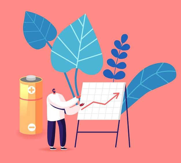 バッテリーとe-wasteの使用とリサイクルの統計情報を使用して成長する矢印チャートを実行する男性。漫画イラスト
