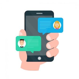 Человек человек в чате на мобильном телефоне с женщиной
