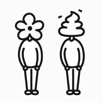 똥과 꽃 머리를 가진 남자 사람입니다. 벡터 낙서 만화 캐릭터 일러스트 디자인입니다. 흰색 배경에 고립. 포스터, 티셔츠 컨셉을 위한 꽃, 똥, 똥 남자 로고 아이콘 인쇄