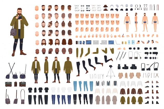 Man photographer or photo journalist creation kit or animation set.
