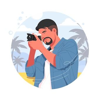 男性の写真家は、カメラのベクトル図を使用して写真を撮ります