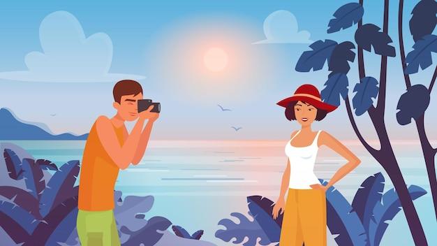 熱帯の海のビーチのイラストで美しい女性を撮影する男