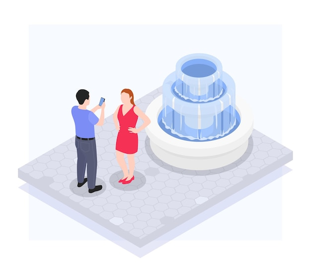 A man photographs a woman in front of a fountain on a mobile isometric illustration