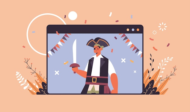 Man in pirate costume happy halloween party celebration self isolation online communication concept web browser window portrait horizontal vector illustration
