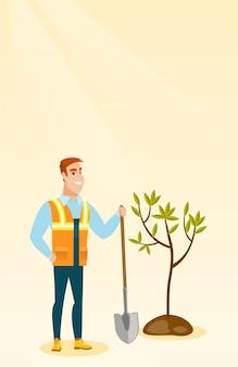 Man plants tree vector illustration.