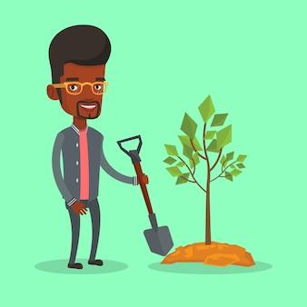 Man plants tree.