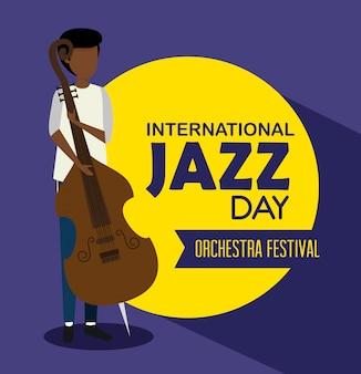 男はジャズの日にチェロの楽器を演奏