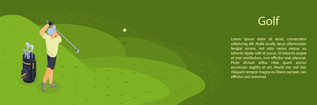 Man play golf concept banner, isometric style
