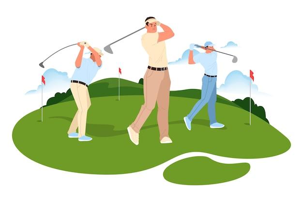 남자 골프. 골프 클럽을 잡고 공을 치는 남자. 건강한 야외 생활.