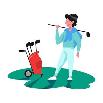 男はゴルフをします。クラブとボールを持っている人。夏の競争、屋外ゲーム。図