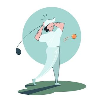 남자 골프. 사람이 클럽과 공을 들고.