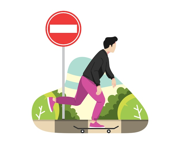 Man play skateboard on street vector illustration