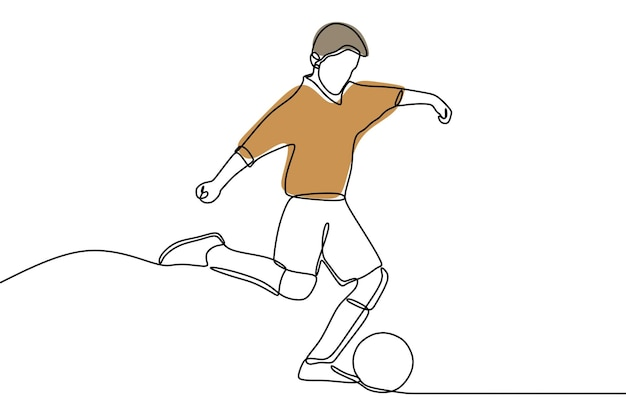 Man play soccer oneline continuous line art