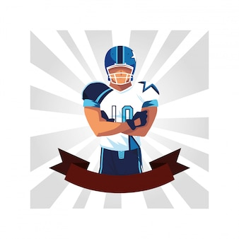 Man player american football with ribbon