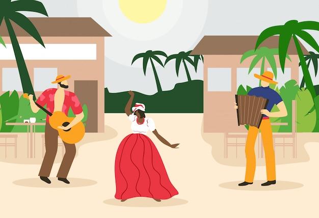 Man playing accordion and guitar and dancing woman