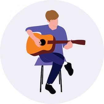 Man playing acoustic guitar while sitting on chair