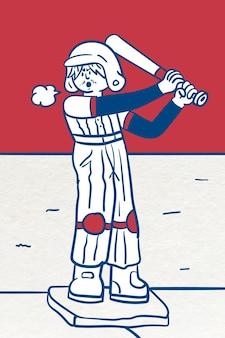 Man playing baseball vector