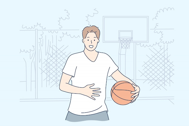 Man playing basketball concept