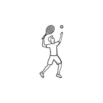 Человек играет большой теннис рисованной наброски каракули значок. большой теннисный турнир, мяч и концепция ракетки. векторная иллюстрация эскиз для печати, интернета, мобильных устройств и инфографики на белом фоне.