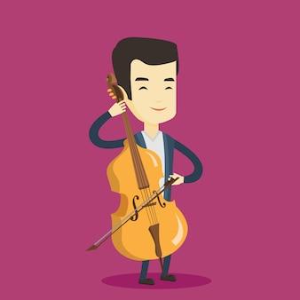 チェロの図を演奏する男。