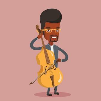 Man playing cello illustration.