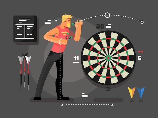 ダーツをする男。スポーツとターゲット、ダーツボードと目標のベクトル図