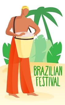 Man playing drum on beach. brazilian festival.