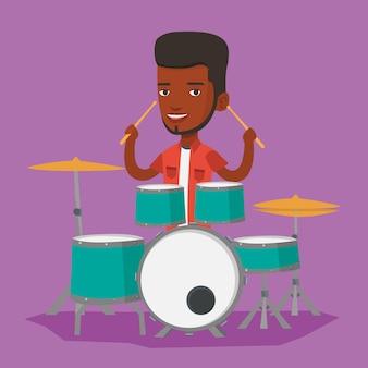 Man playing on drum kit illustration.