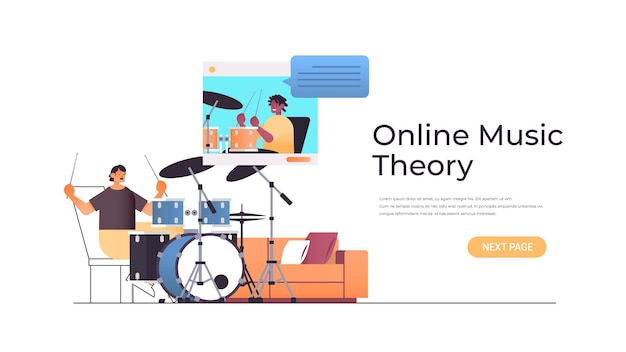ウェブブラウザウィンドウでアフリカ系アメリカ人の先生とビデオレッスンを見ながらドラムを演奏する男オンライン音楽理論の概念水平コピースペースイラスト