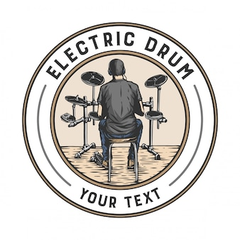 A man playing electric drums in a badge design style