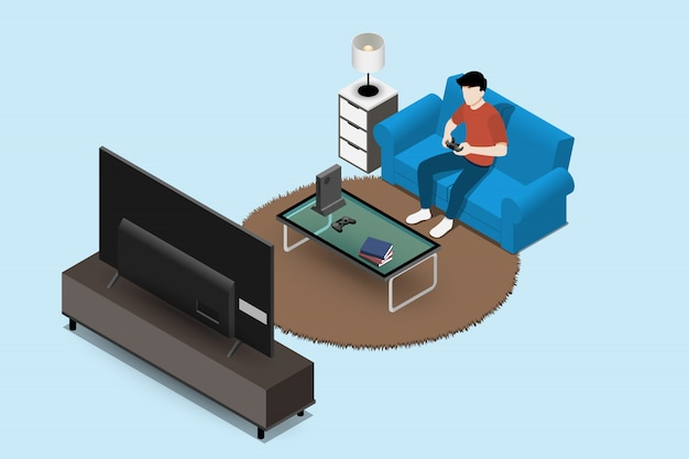 Man playing game console on sofa.