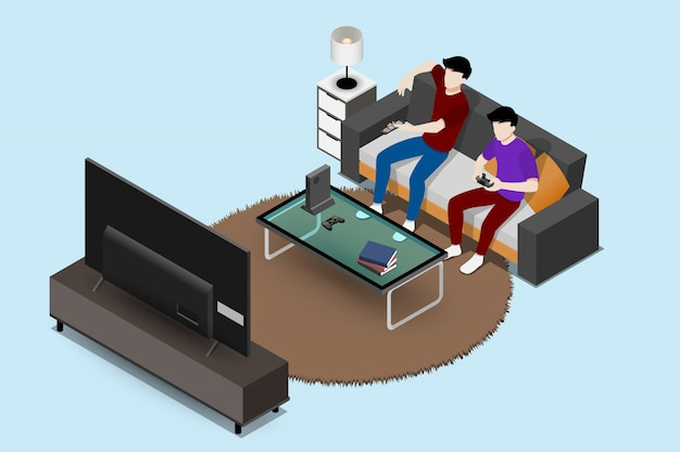 Man playing game console with friend on sofa.