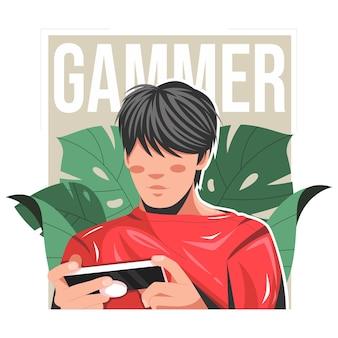 スマートフォンのフラットベクトルイラストでゲームをしている男