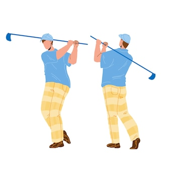 Man playing golf and hitting ball with club vector. golfer play golf and shot with sportive equipment. character boy golfing and exercising, sport and leisure active time cartoon illustration